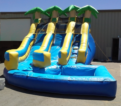 14 Foot Dual Lane Curved Water Slide